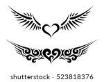 two hearts with wings tribal...   Shutterstock .eps vector #523818376