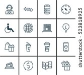 set of 16 transportation icons. ... | Shutterstock .eps vector #523818925