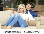 portrait of an affectionate... | Shutterstock . vector #523820992