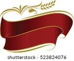decorated red ribbons with gold ... | Shutterstock .eps vector #523824076