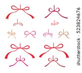 christmas bow icons set. red...
