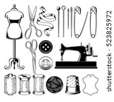 set of vector tailor icons... | Shutterstock .eps vector #523825972