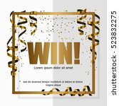 gold win  in gold frame with...   Shutterstock .eps vector #523832275