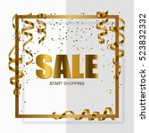 gold sale in gold frame with... | Shutterstock .eps vector #523832332