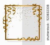 gold frame with gold ribbon ... | Shutterstock .eps vector #523832338