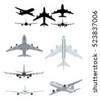 airplane illustrations set with ... | Shutterstock .eps vector #523837006