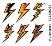 set of yellow emblems of... | Shutterstock .eps vector #523838056