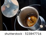 making moka coffee in stainless ... | Shutterstock . vector #523847716