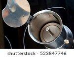 inside aluminum moka pot or... | Shutterstock . vector #523847746