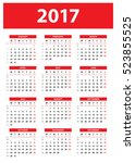 calendar for 2017 year on white ... | Shutterstock .eps vector #523855525