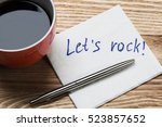 coffee cup pen and napkin with... | Shutterstock . vector #523857652