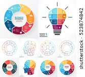 vector circle infographics set. ... | Shutterstock .eps vector #523874842