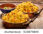 chicken with basmati rice fried ... | Shutterstock . vector #523874845
