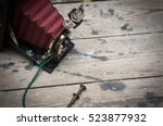 retro vintage style camera with ... | Shutterstock . vector #523877932