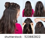 modern hairstyle twisted bun...   Shutterstock . vector #523882822