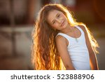 closeup of a beautiful girl... | Shutterstock . vector #523888906