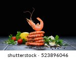 cooked shrimps prawns with... | Shutterstock . vector #523896046