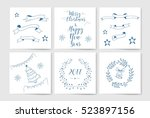 christmas card. doodle decor... | Shutterstock .eps vector #523897156