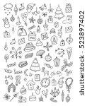 christmas hand drawn cartoon... | Shutterstock .eps vector #523897402