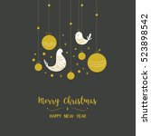 christmas card ornamented birds ...