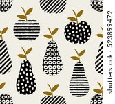 hand drawn seamless pattern... | Shutterstock .eps vector #523899472