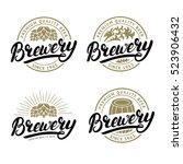 set of brewery hand written... | Shutterstock .eps vector #523906432