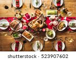 christmas family dinner table... | Shutterstock . vector #523907602
