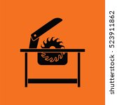circular saw icon. orange... | Shutterstock .eps vector #523911862