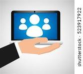 man hand holds laptop mobile...   Shutterstock .eps vector #523917922