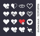 abstract heart icons. arrow in... | Shutterstock . vector #523918906