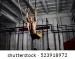 muscle up exercise athletic man ... | Shutterstock . vector #523918972