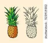 outline pineapple and color... | Shutterstock . vector #523919302