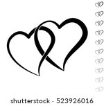 Two Hearts   Black Vector Icon...