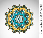 vector abstract flower mandala. ... | Shutterstock .eps vector #523926802