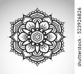 vector abstract flower mandala. ... | Shutterstock .eps vector #523926826