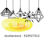background with lamps and... | Shutterstock .eps vector #523927312