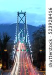 Stock photo lion s gate bridge at dusk time exposure vancouver bc canada 523928416