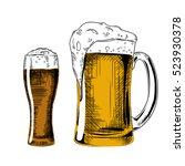beer glass. vector vintage... | Shutterstock .eps vector #523930378