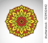 vector abstract flower mandala. ... | Shutterstock .eps vector #523932442