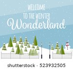 cute vector winter background....   Shutterstock .eps vector #523932505