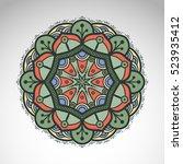 vector abstract flower mandala. ... | Shutterstock .eps vector #523935412