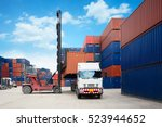 containers in the port ... | Shutterstock . vector #523944652