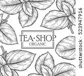 organic green white black tea... | Shutterstock .eps vector #523947916