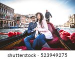 couple of lovers on vacation in ... | Shutterstock . vector #523949275