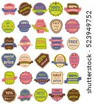 set of thirty badges with... | Shutterstock . vector #523949752