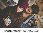 young couple having breakfast... | Shutterstock . vector #523952062