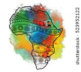 textured vector map of africa.... | Shutterstock .eps vector #523952122