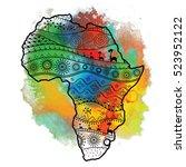 textured vector map of africa.... | Shutterstock .eps vector #523952122