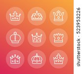 crowns line icons set  royalty  ... | Shutterstock .eps vector #523953226