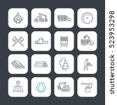 logging line icons set  timber... | Shutterstock .eps vector #523953298